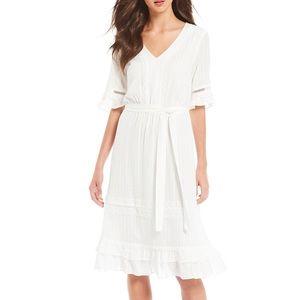 NWT Gibson Latimer tie waist white midi dress XL
